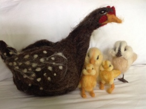 Felted hen and chicks