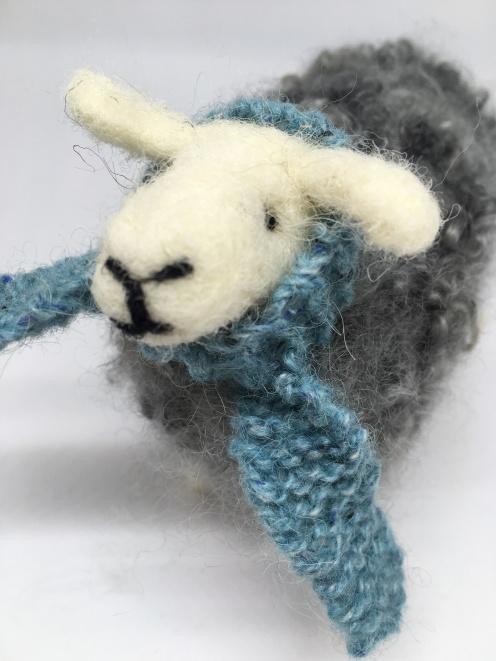 Needlefelted sheep and scarf using Wensleydale fleece.£30
