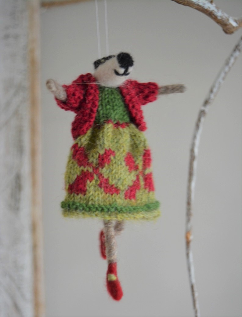 Badger decoration in dress