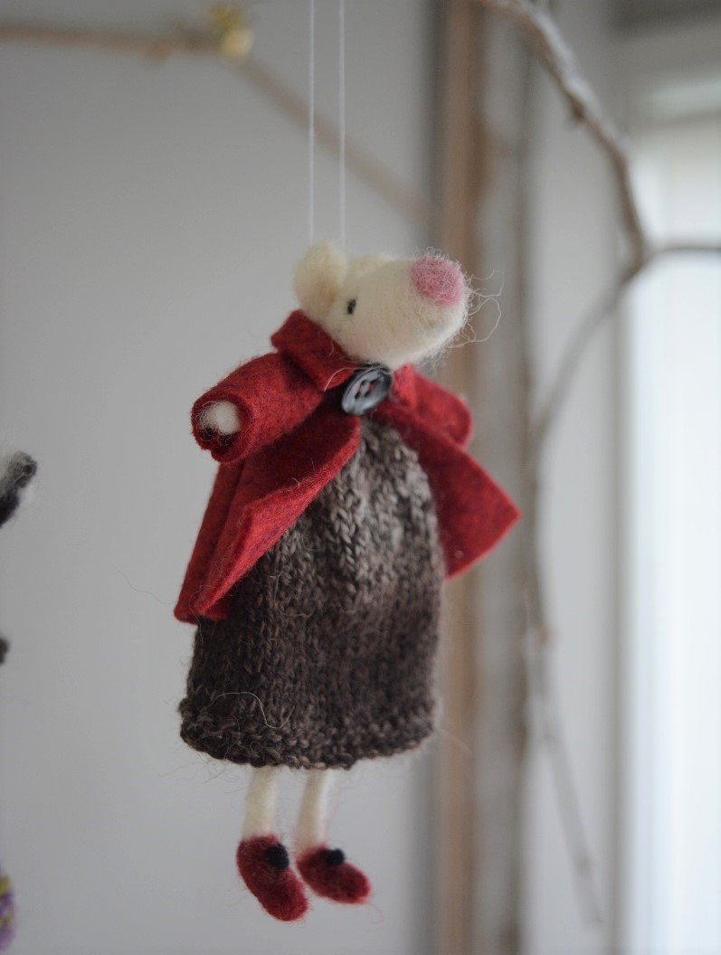 Mouse in knitted dress and jacket