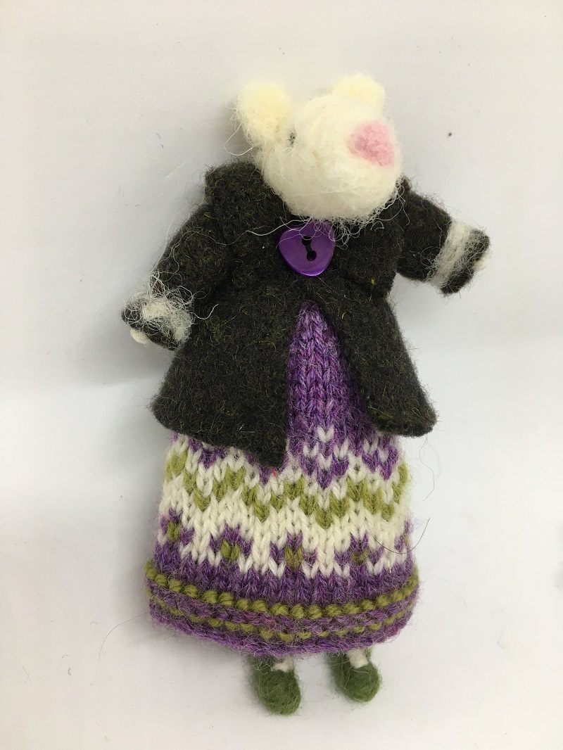 Mouse in knitted dress