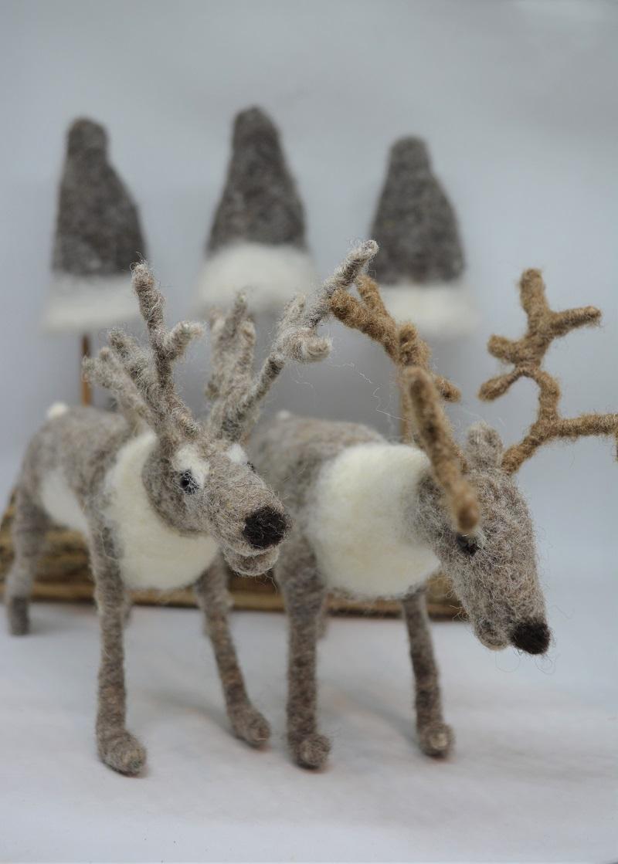 Needle felted Reindeers