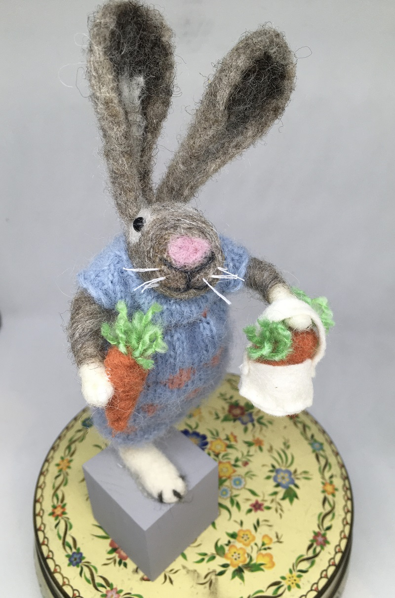 Felted rabbit in blue dress