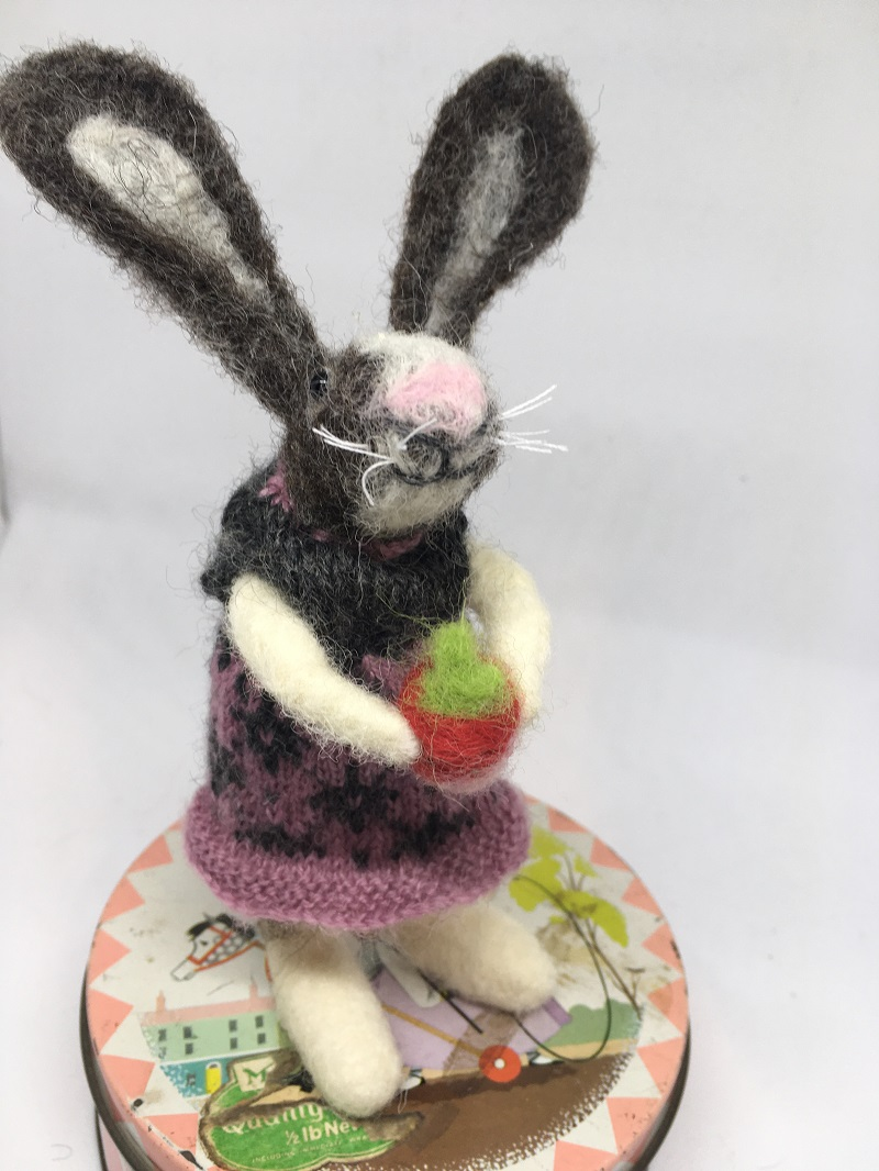 Felted rabbit in pink and grey dress