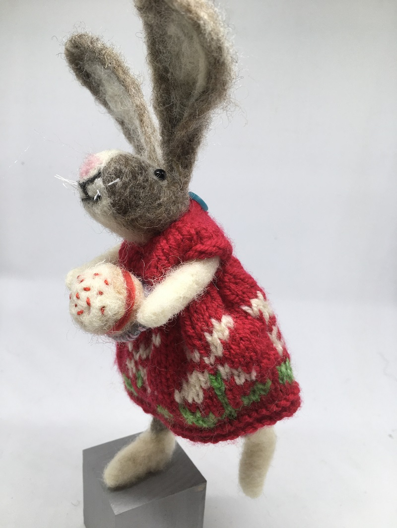 Felted rabbit in red dress
