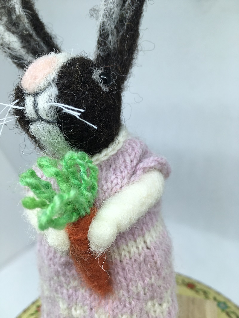 Felted Rabbit with pale pink dress