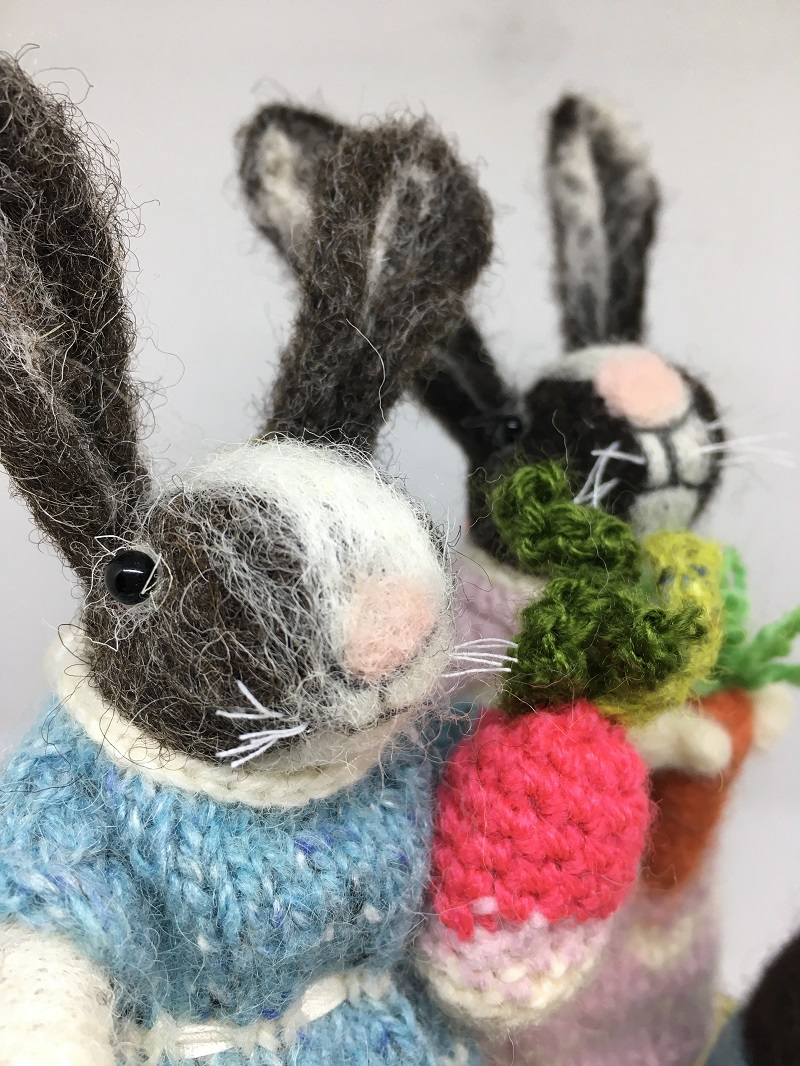 Felted rabbits in dresses